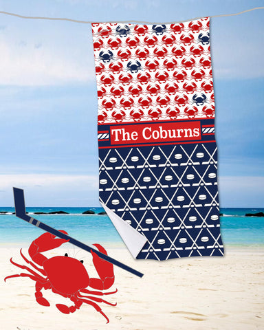 Ice Hockey & Crabs Beach Towel