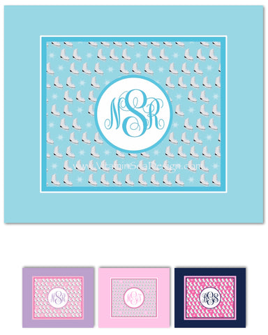 Figure Skating Monogram Fleece Blankets