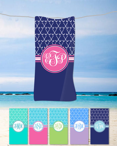 Field Hockey Monogram Beach Towels