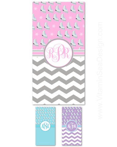 Figure Skating Monogram Beach Towels