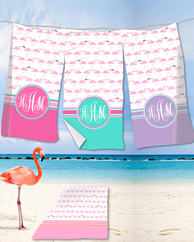 Flamingo Monogram Beach Towels