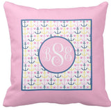 Anchor Monogram Pillow (Navy/Pink)