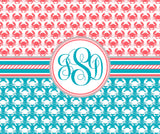 Crab Monogram Fleece Blankets