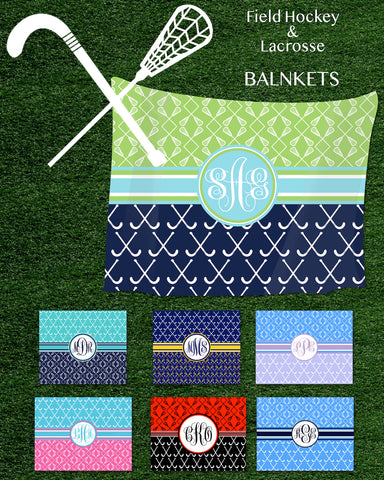Multi-Sport:  Field Hockey & Lacrosse Monogram Fleece Blankets