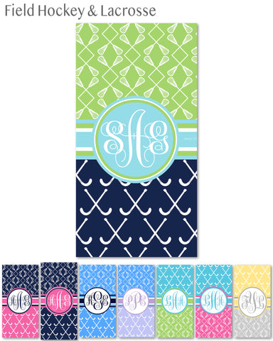 Multi-Sport:  Field Hockey & Lacrosse Monogram Beach Towels