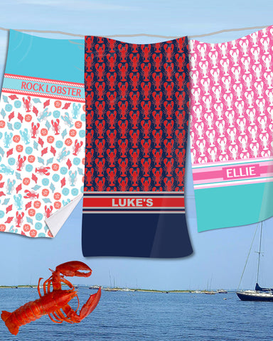Lobster Monogram Beach Towels