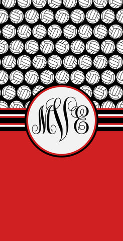 Volleyball Monogram Beach Towels