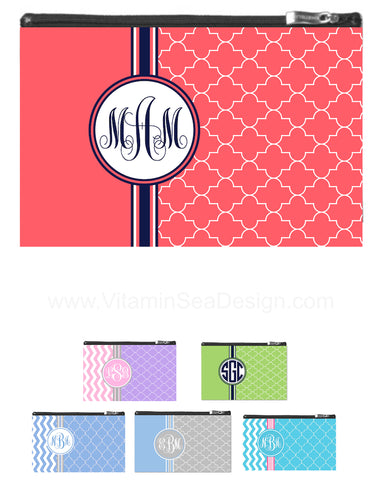 Chevron & Moroccan Monogram Zipper Pouch