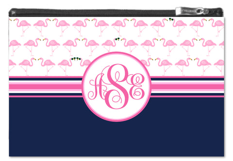 Flamingo Monogram Zipper Pouch