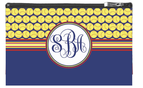 Softball Monogram Zipper Pouch