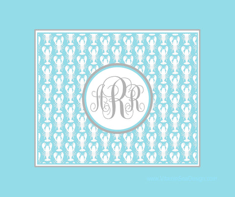 Lobster Monogram Fleece Blankets