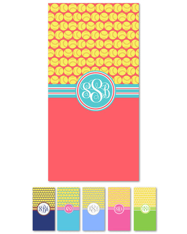 Softball Monogram Beach Towels