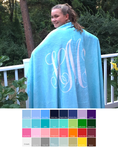 Solid Monogram Fleece Blanket
