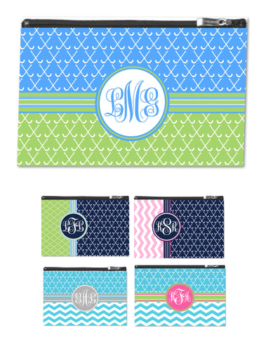 Field Hockey Monogram zipper pouch