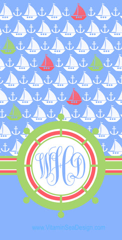 Anchor & Sail Beach Towel