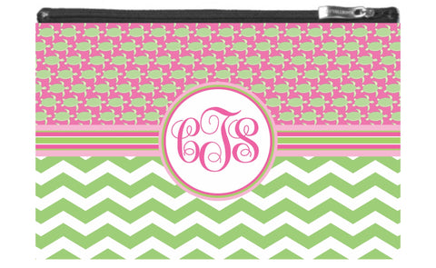 Turtle Monogram Zipper Pouch