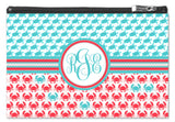 Crab & Turtle Monogram Zipper Pouch