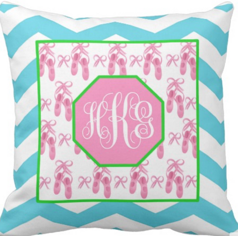 Ballet Monogram Pillow (Aqua Chevron)
