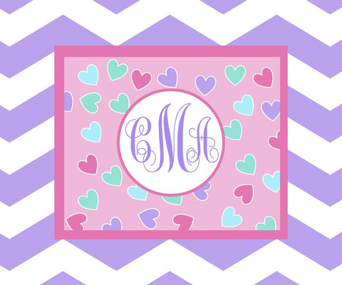 Heart Monogram Fleece Blanket