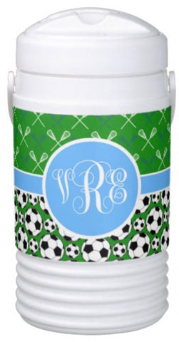 Multi-Sport:  Lacrosse & Soccer Igloo Cooler (green/blue)