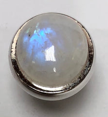 Rhodium Polish Domed Tip - Rainbow Moonstone (16mm)