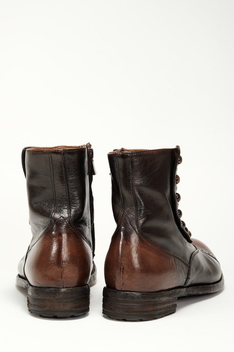 Officine Creative - Victorian Button Boot - Brown Two Tone