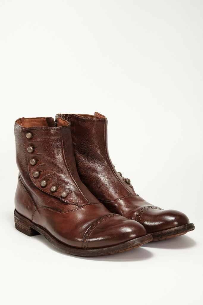 Officine Creative - Victorian Button Boot - Cognac/ Brass