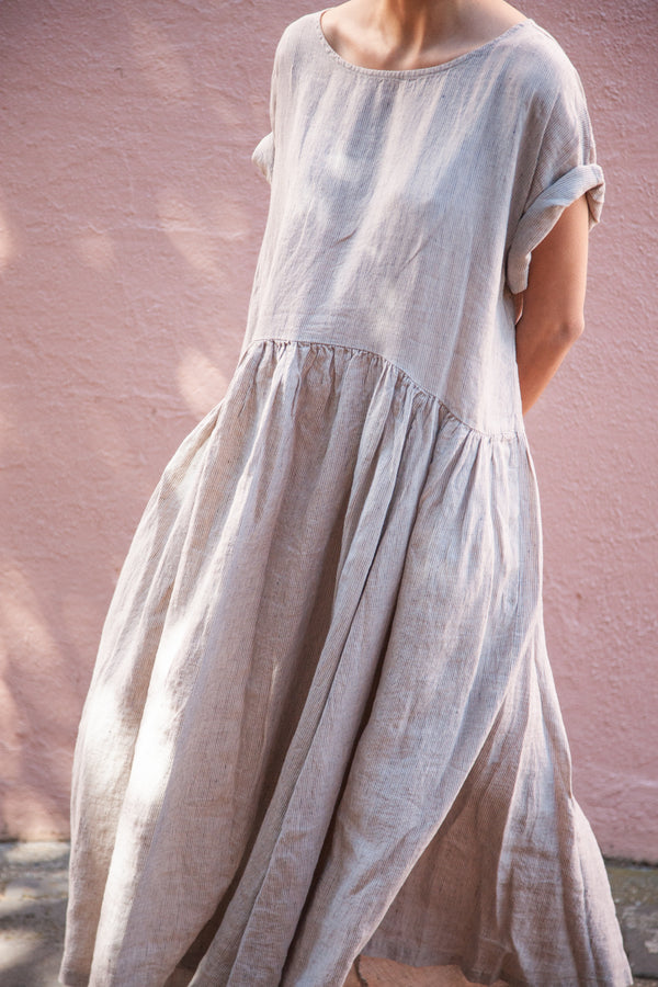 Metta - Aya Gathered Waist Dress - Fine Stripe Linen