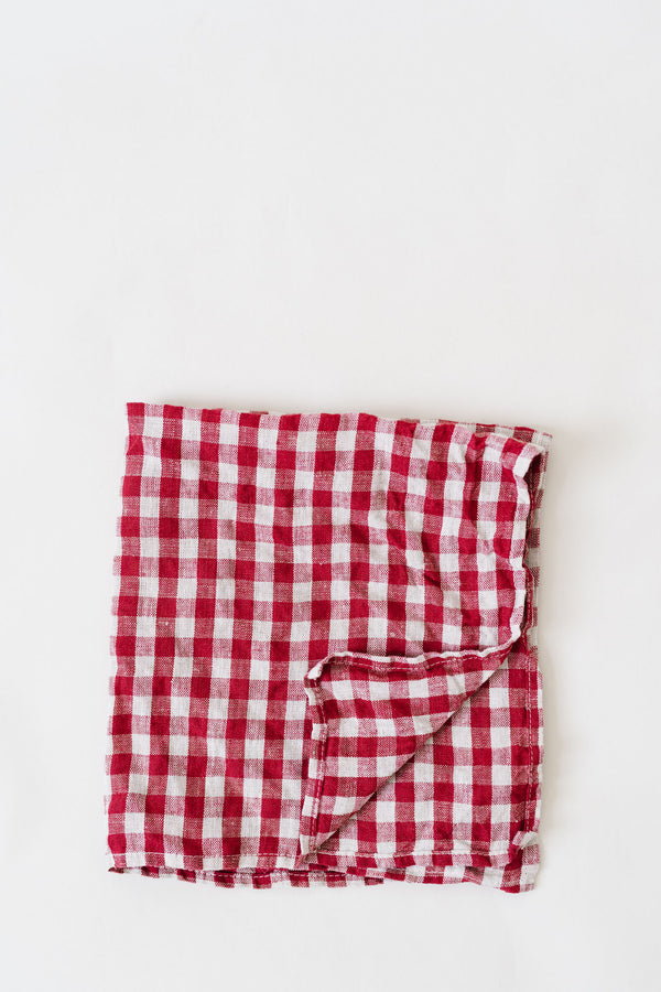 Metta - Napkin Set - Red & Cream check