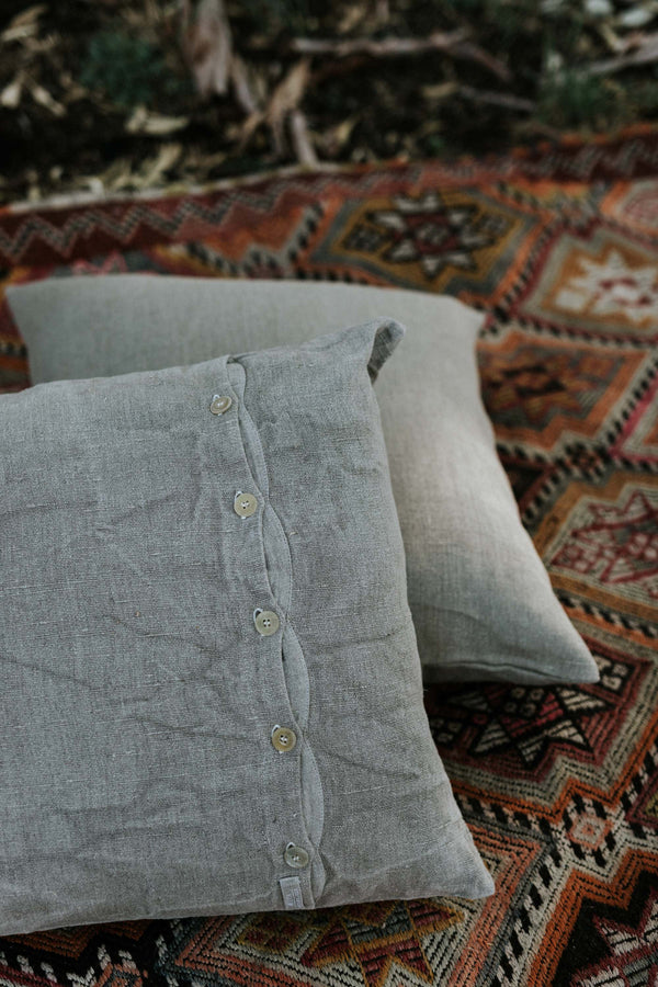 Metta - Linen Cushion Cover - Button Closure