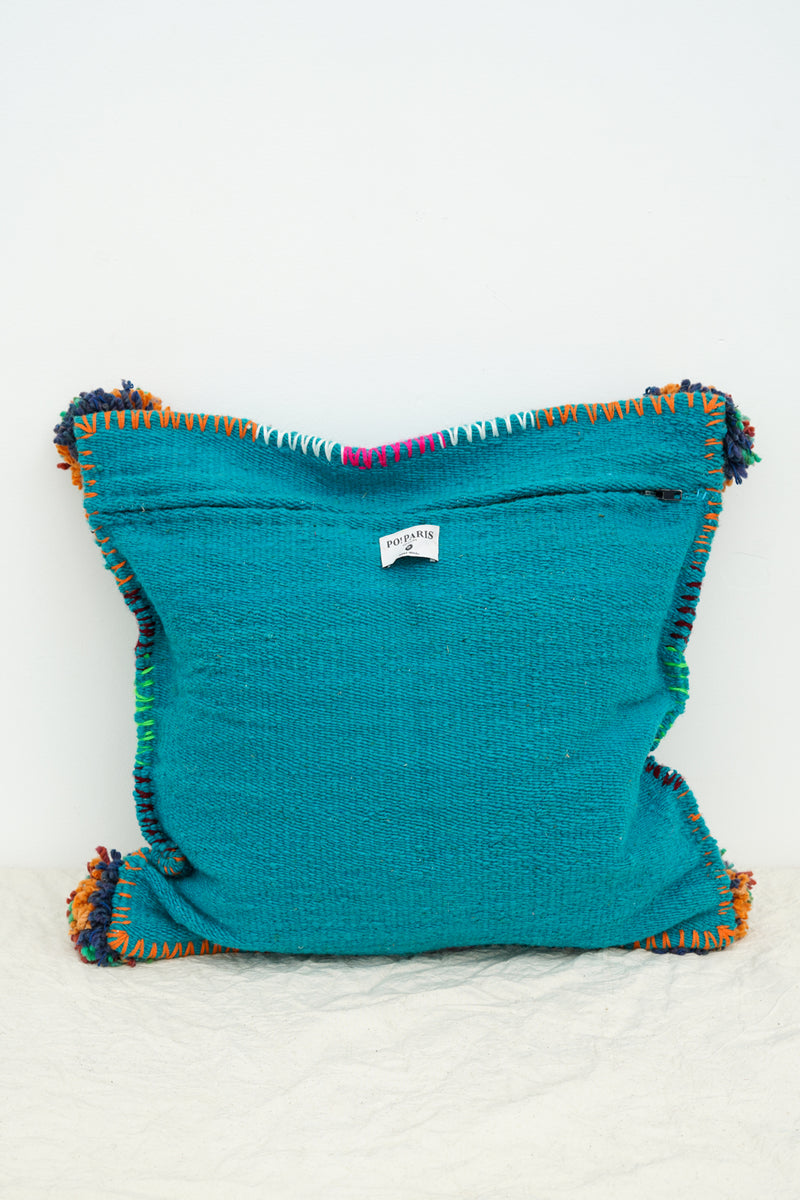 PO! PARIS - Nathalie woven and knotted cushion small-Blue