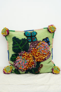 PO! PARIS - Nathalie woven and knotted cushion- Green Water