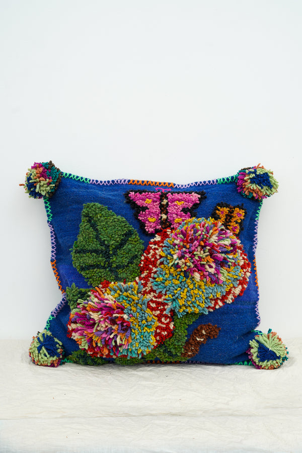 PO! PARIS - Nathalie woven and knotted cushion-Blue