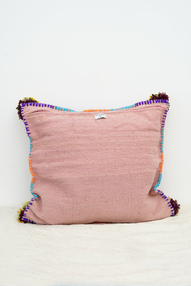 PO! PARIS - Nathalie woven and knotted cushion-Mauve