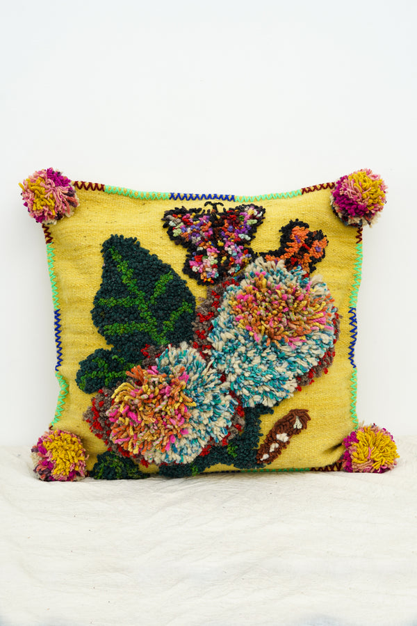 PO! PARIS - Nathalie woven and knotted cushion-Yellow