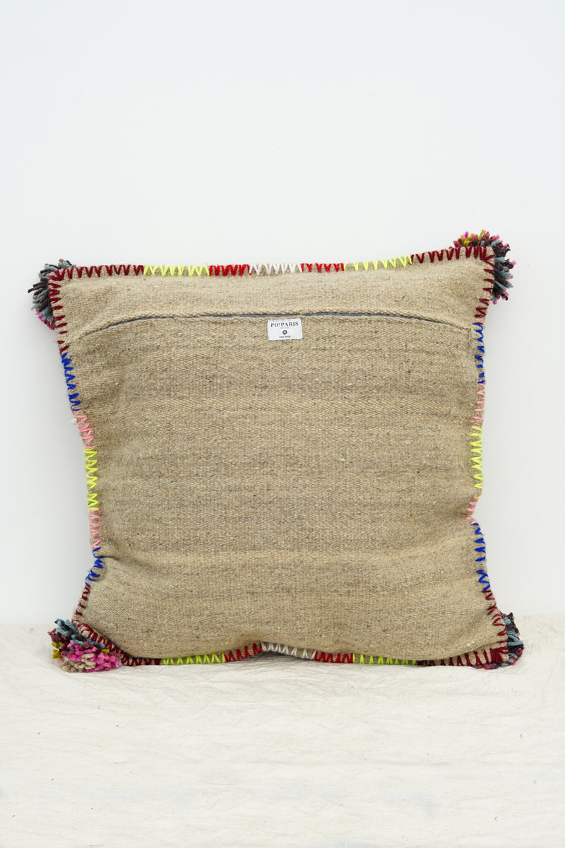 PO! PARIS - Nathalie woven and knotted cushion-Grey natural