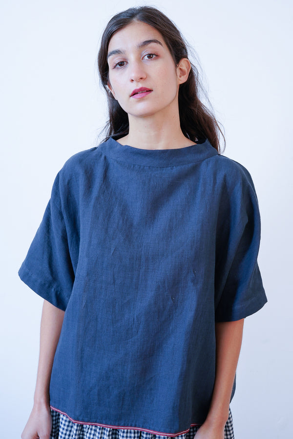 Runaway Bicycle - RBSS20-065 - Blue Linen Boat Neck Top