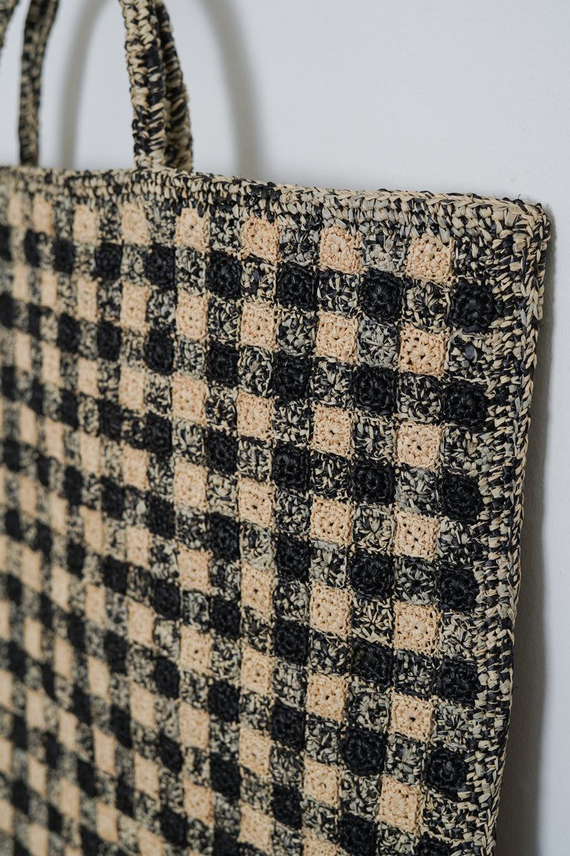 Sophie Digard - SO32-4374 NATB-NOIR - Large 4374 crocheted raffia tote