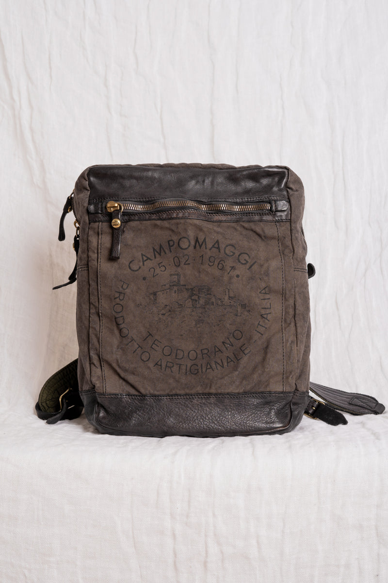 Campomaggi - C023620ND-X0011- Backpack canvas -Teodorano print military stained