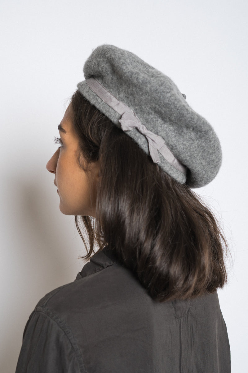 Gil Fox - Grey beret thin-light grey grosgrain