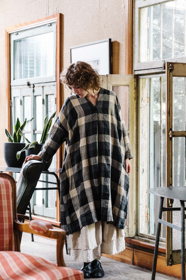 Metta - Ottilie Dress - Crinkle Linen Checks