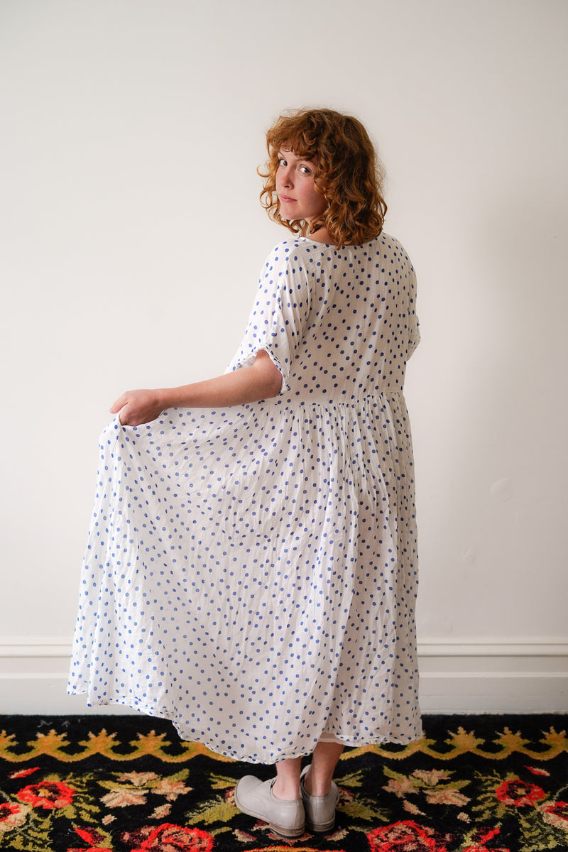 Metta - Flossie Dress - Cotton Voile Blue Spot