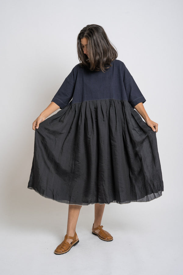 Runaway Bicycle - rbaw2028 ESTHER cotton silk skirt dress Black