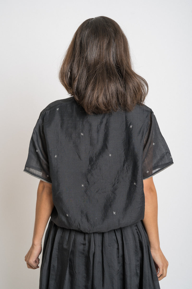 Runaway Bicycle - rbaw2049 THELMA silk shirt Black