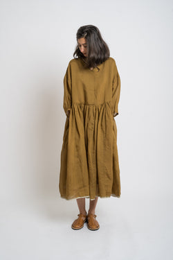 Runaway Bicycle - rbaw2052 GABRIELLA silk oversize dress Mustard