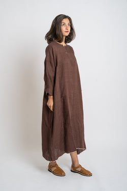 Runaway Bicycle - rbaw2017 CHARLOTTE Linen dress Chocolate