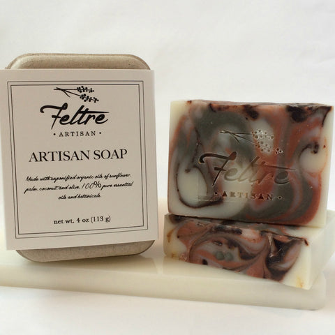 Men's Soap with Cedarwood and Orange Essential Oils - Vegan, Made with Organic Oils, Fair Trade Cocoa and Brazilian Clay