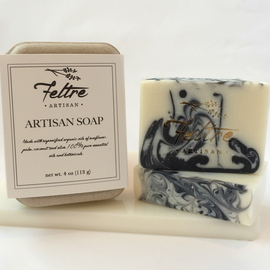 Charcoal Soap with Rosemary and Peppermint Essential Oils - Vegan, Made with Organic Oils - Feltre Artisan - 1