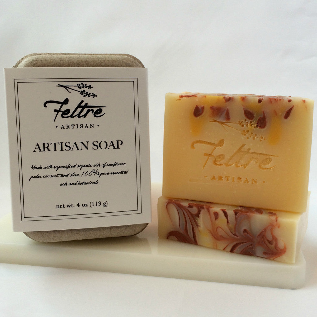 Citrus Soap with Lemon, Orange, and Grapefruit Essential Oils - Vegan, Made with Organic Oils - Feltre Artisan