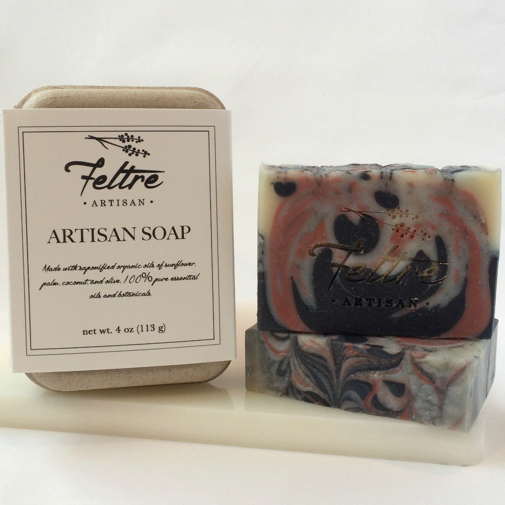 Rose Clay, Coconut Milk and Charcoal Soap with Anise Essential Oil - Vegan, Made with Organic Oils - Feltre Artisan